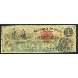 Lima, Peru, Banco de Lima, 4 soles, 1-1-1870, rare.