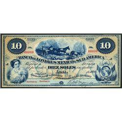 Lima, Peru, Banco de Londres Mexico y Sud America, specimen 10 soles, 1866.
