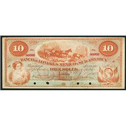Lima, Peru, Banco de Londres Mexico y Sud America, specimen 10 soles, 1-1-1873.
