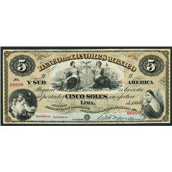 Lima, Peru, Banco de Londres Mexico y Sud America, specimen 5 soles, 1866.