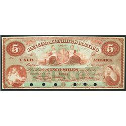 Lima, Peru, Banco de Londres Mexico y Sud America, specimen 5 soles, 1-1-1873.