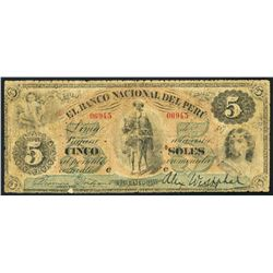 Lima, Peru, Banco Nacional del Peru, 5 soles, 187X (1871-73), rare.