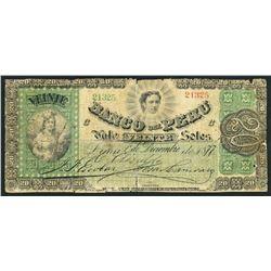 Lima, Peru, Banco del Peru, 20 soles, 1-12-1877.