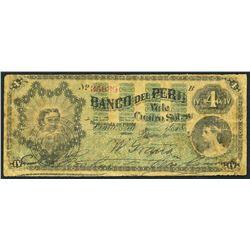 Lima, Peru, Banco del Peru, 4 soles, 1-12-1873, rare.