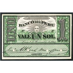 Lima, Peru, Banco del Peru, sol front proof, 2-11-1864.