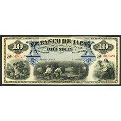 Tacna, Peru, Banco de Tacna, remainder 10 soles, ND (1870s).