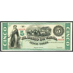 Tacna, Peru, Banco de Tacna, remainder 5 soles, ND (1870s).