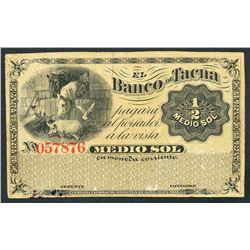 Tacna, Peru, Banco de Tacna, remainder 1/2 sol, ND (1870s)