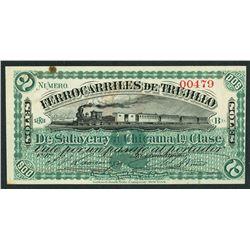 Trujillo, Peru, Ferrocarriles de Trujillo, 2 soles, ND (ca. 1880), rare.