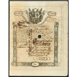 Lima, Peru, Junta del Credito Nacional, 200 pesos government bond, 17-5-1827.