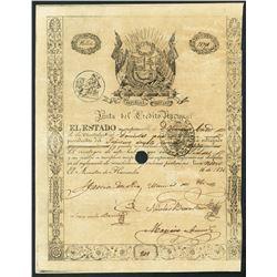 Lima, Peru, Junta del Credito Nacional, 200 pesos government bond, 16-11-1836.