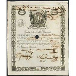 Lima, Peru, Junta del Credito Nacional, 100 pesos government bond, 6-10-1831.