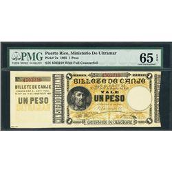 Puerto Rico, Ministerio de Ultramar, 1 peso, 17-8-1895, with counterfoil, certified PMG Gem UNC 65 E