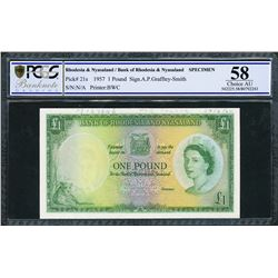 Rhodesia and Nyasaland, Bank of Rhodesia and Nyasaland, specimen 1 pound, ND (1960), certified PCGS