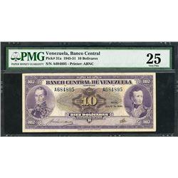 Caracas, Venezuela, Banco Central, 10 bolivares, 19-7-1945, certified PMG VF 25.