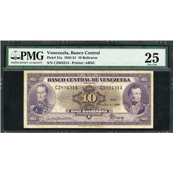 Caracas, Venezuela, Banco Central, 10 bolivares, 5-10-1950, certified PMG VF 25.