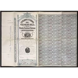 Caracas, Venezuela, specimen 15,000 bolivares six-percent national debt coupon bond, 1896.