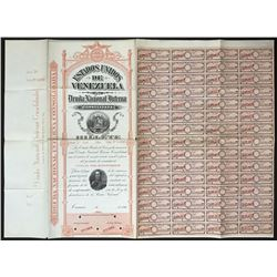 Caracas, Venezuela, specimen 5,000 bolivares six-percent national debt coupon bond, 1896.