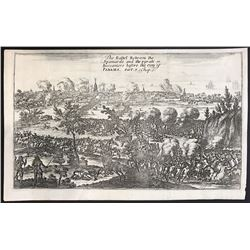 English copperplate engraving entitled  The Battel Between the Spaniards and the pyrats or Buccanier