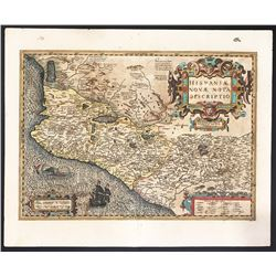 Large copperplate-engraved Dutch map of Mexico by Hondius, ca. 1606-30, hand colored.