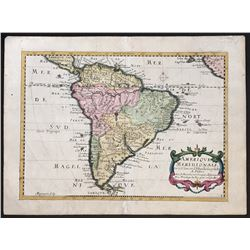 French copperplate-engraved map of South America entitled Amerique Meridionale by Nicolas Sanson (16