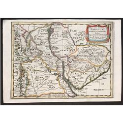 French copperplate-engraved map of Paraguay by Nicolas Sanson (1657), reprint ca. 1705 from the firs