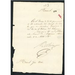 Military document signed by Simon Bolivar, dated Nov. 9, 1817, very rare.