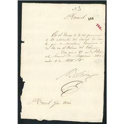 Military document signed by Simon Bolivar, dated Nov. 9, 1817, very rare.
