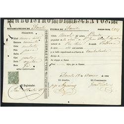 Puerto Rican slave-transfer document for a child slave, dated 12-3-1869.