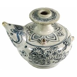 "Intact blue-on-white porcelain ""kendi pot"" (rare), from the ""Hoi An Hoard"" wreck (late 1400s)."