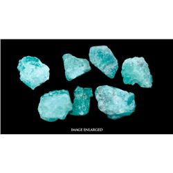 Lot of seven natural (light) emeralds with two certificates, six totaling 10.15 carats plus one at 1