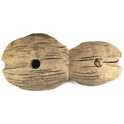 Double-wheel, hand-carved wooden pulley from a wreck off the Netherlands (1600s).