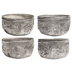 Large, ornate silver salt cellar with open top from the 1715 Fleet.