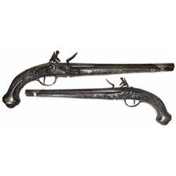 Eastern European horseman's flintlock pistol, 1700s.