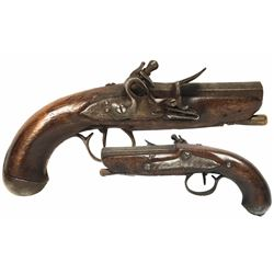 European gentleman's small overcoat flintlock pistol, ca. 1780.