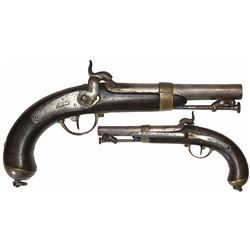 "Scarce French military naval officer's model 1837 pistol, ""Royal de Chatellerault."""