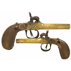 Double-barrel percussion boot pistol made in Liege, Belgium, ca. 1850.