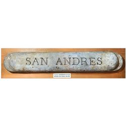 "Civil War blockade runner lead ingot marked ""San Andres."""