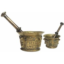 Bronze Spanish mortar and pestle with castles-and-lion decoration, 1600s.