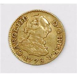 Madrid, Spain, bust 1/2 escudo, Charles III, 1778PJ.