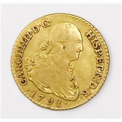 Madrid, Spain, bust 1 escudo, Charles IV, 1791MF.