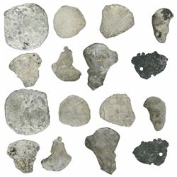 Lot of six cob 4R, 1R (3) and fragments (2), mints and assayers not visible.