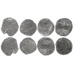Lot of four Potosi, Bolivia, cob 8 reales, Philip III, assayers R (curved leg), T and not visible, G