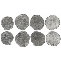 Lot of four Potosi, Bolivia, cob 8 reales (three) and 4 reales (one), Philip III, various assayers (