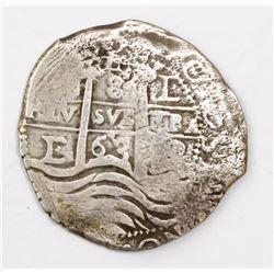 Potosi, Bolivia, cob 8 reales, 1663E.