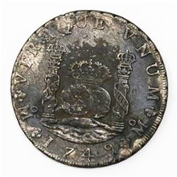 Mexico City, Mexico, pillar 8 reales, Ferdinand VI, 1749MF.