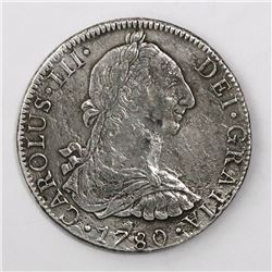 Mexico City, Mexico, bust 8 reales, Charles III, 1780FF.