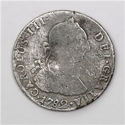 Potosi, Bolivia, bust 2 reales, Charles III, 1782PR.
