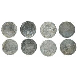 Lot of four Spanish colonial bust 8R of Charles III and IV, various mints and dates (where visible).