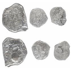 Lot of three silver cobs from various wrecks: Mexico 8R 173(?)F (1733 Fleet?); Potosi 2R 1747q (wrec